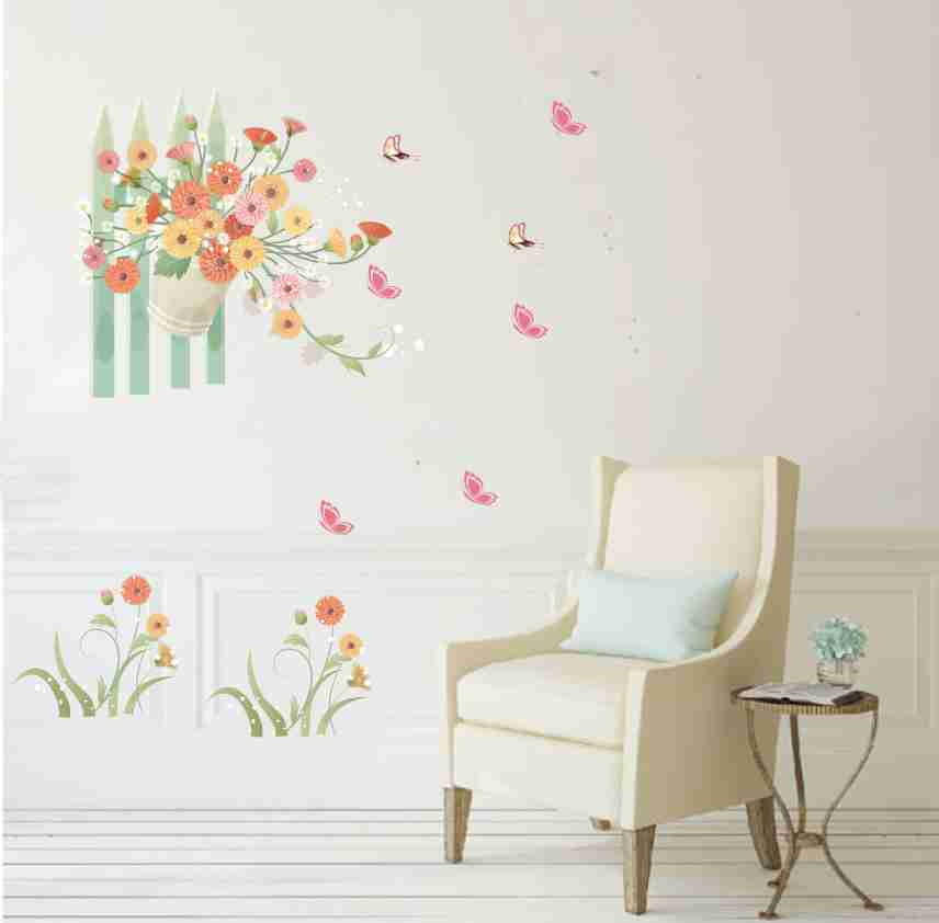 Colorful Flower green Vine Stickers Cabinet Stove Refrigerator cupboard living room Decoration Mural Art PVC Wall decals