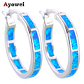 Wholesale & Retail New product Round earrings Blue Fire Opal Silver Stamped Hoop Earrings Fashion Jewelry OE428A