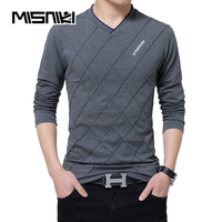 MISNIKI Brand 2018 Spring Autumn Long Sleeve T Shirt Men Cotton Casual V Neck Solid Tshirt