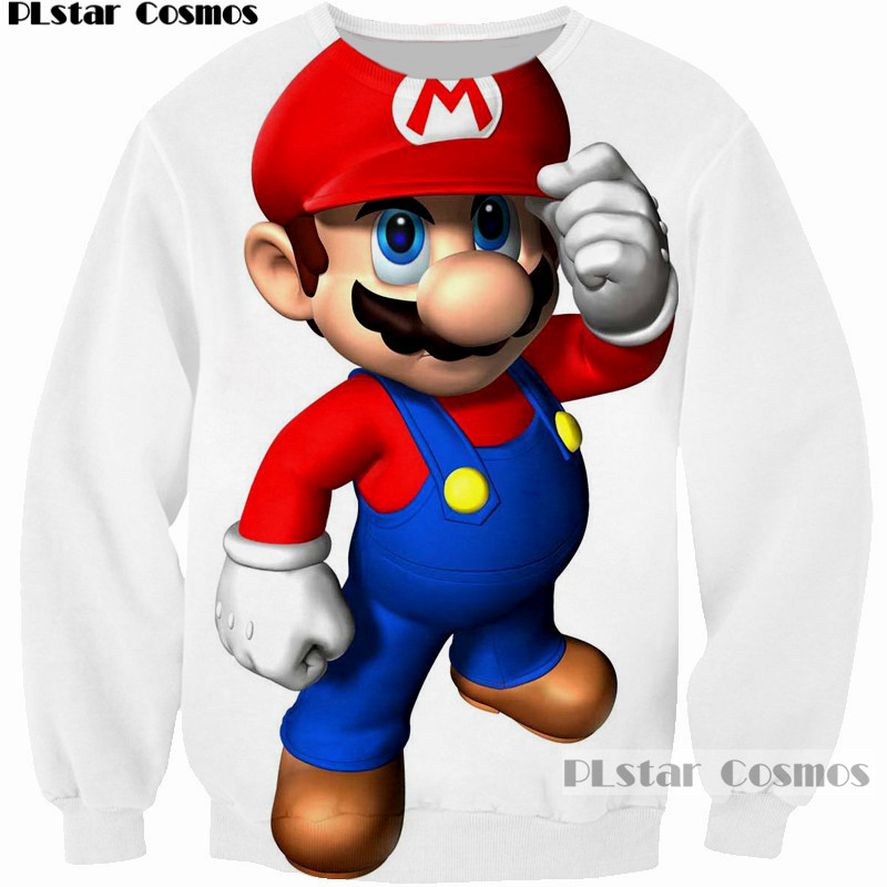 PLstar Cosmos Cartoon Sweatshirts Handsome Super Mario Kart touch the Cap M Sweatshirt 3D Printed white Hoodies Cool pullovers