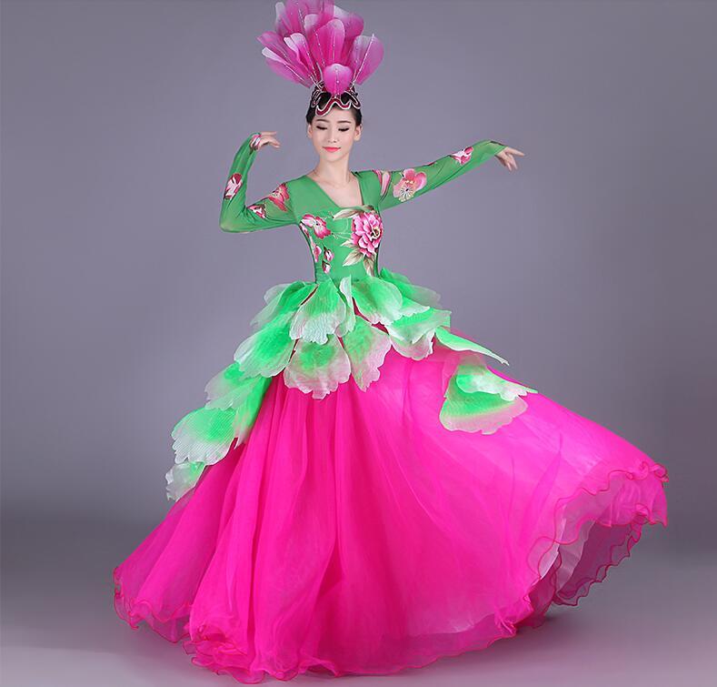 2017 New female peony pattern fluffy dress Singer dance Flamenco dance costumes chorus ballroom dance dresses