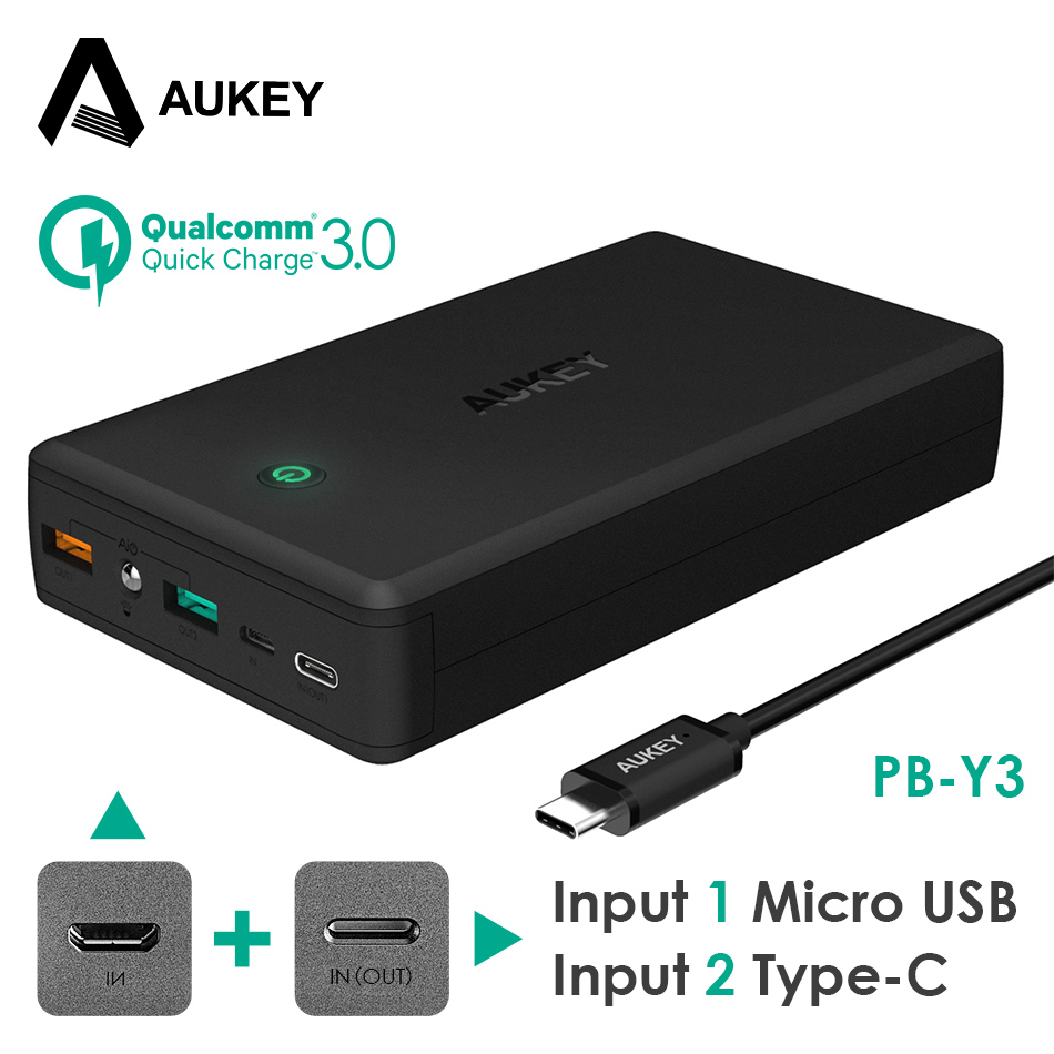 AUKEY 30000 mAh Puissance Banque Portable Chargeur Charge Rapide 3.0 Powerbank Batterie Externe pour iPhone X 8 Xiaomi mi7 Poverbank