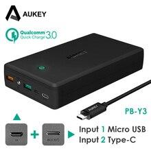 AUKEY 30000 мАч Мощность банк Quick Charge 3,0 3A Мощность банк Комплекты внешних аккумуляторов с USB-C для iPhone 8 x Xiaomi samsung s8 LG и т. д.