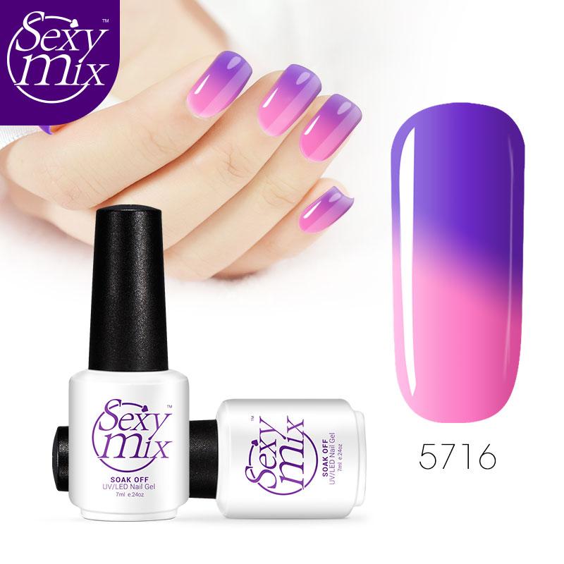 Sexy mix 7ML Nail Gel Polish Temperature Changing Color Gel Nail Polish Cosmetics Nail Art Gelpolish  Soak Off UV Gel