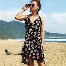 2019 Hot Sale Europe and America Sexy Strap V Neck Dress Printed Chiffon Backless Beach