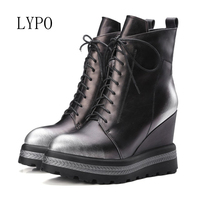 LYPO Women Ankle Boots Platform Wedge High Heels Warm Winter Boots Zip Female Autumn Boots Lady