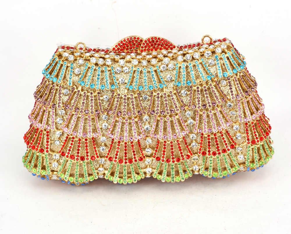 Luxury Kristal Evening Clutch Bag Biru Berlian Imitasi Tas Pernikahan Grosir Disesuaikan Berlian Evening Party Purse Tas sc504