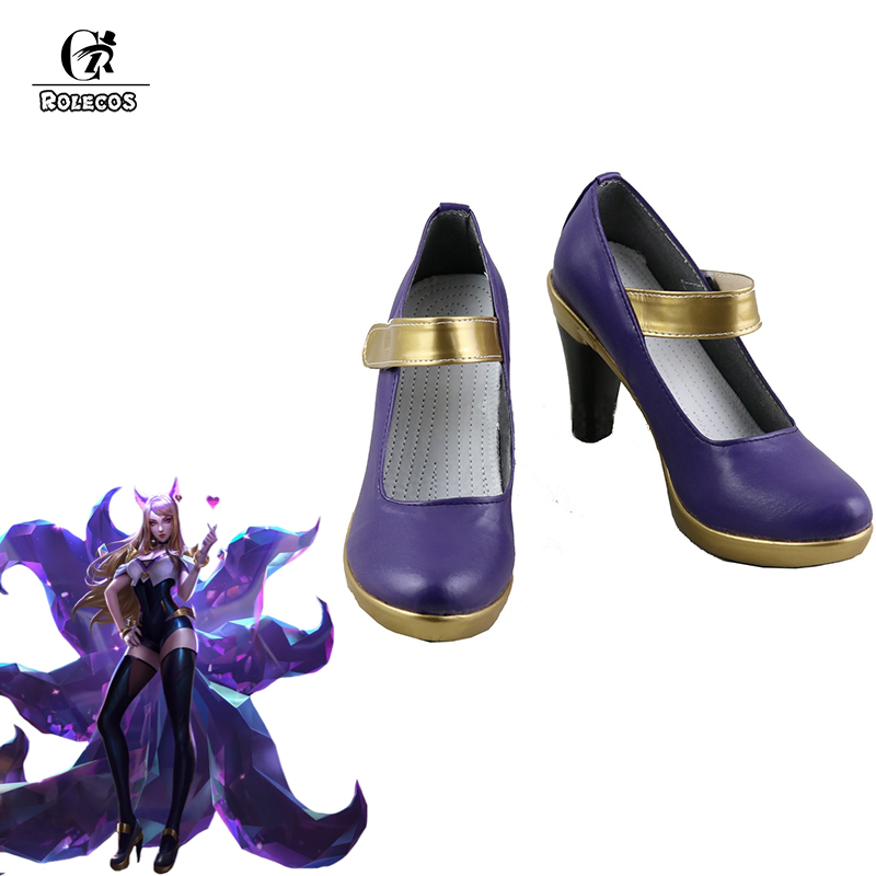 ROLECOS Game LOL K DA Ahri Cosplay Shoes LOL KDA Cosplay High Heeled Shoes for Women