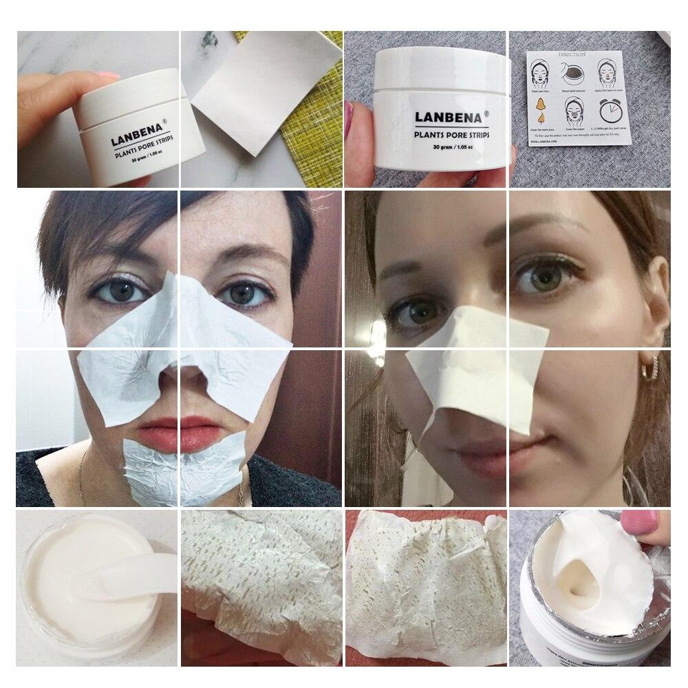Lanbena removedor de cravo máscara de nariz tira poros preto descascar fora máscara facial tratamento acne preto limpeza profunda rosto cuidados com a pele