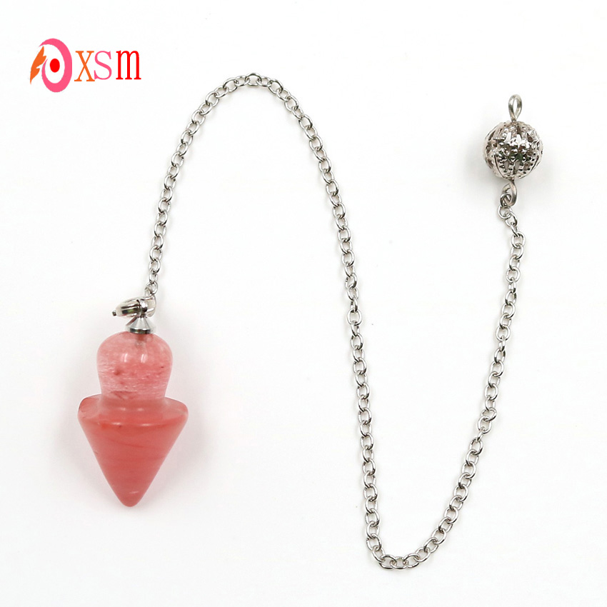 xinshangmie 1 PCS Unique Natural Cherry Quartzs Geometry Pyramid Gyro Pendulum Pendant Necklace Healing Amulet Crystal Jewelry image