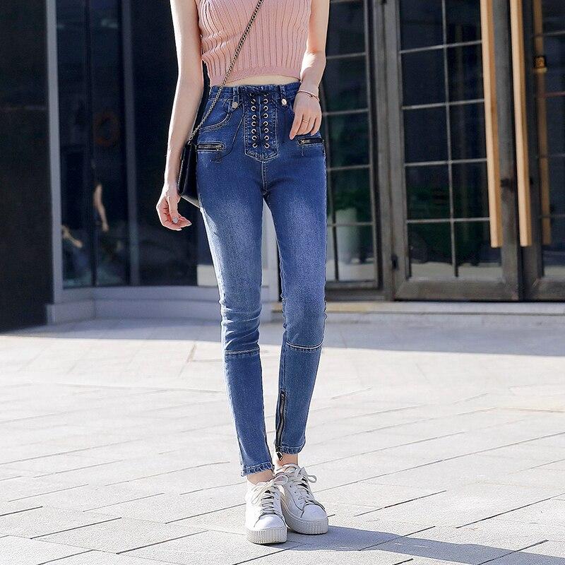 Skinny New Pencil Lady Trousers Pants Zipper Jeans Tie Black High Women Fashion blue Slim Elastic Fit Waist Sexy qCZqY7r