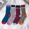 4 colores de alta calidad de algodón peinado otoño invierno que hace punto grueso térmica a largo marca hombres mujeres unisex casual harajuku calcetines