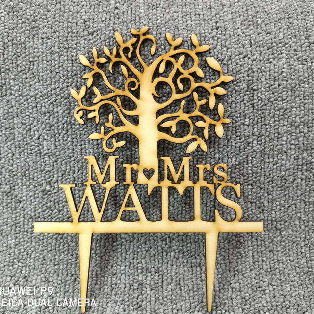 Aliexpress buy personalized surname wood acrylic cake topper personalized surname wood acrylic cake topper rustic wedding cake toppertree cake topper junglespirit Image collections