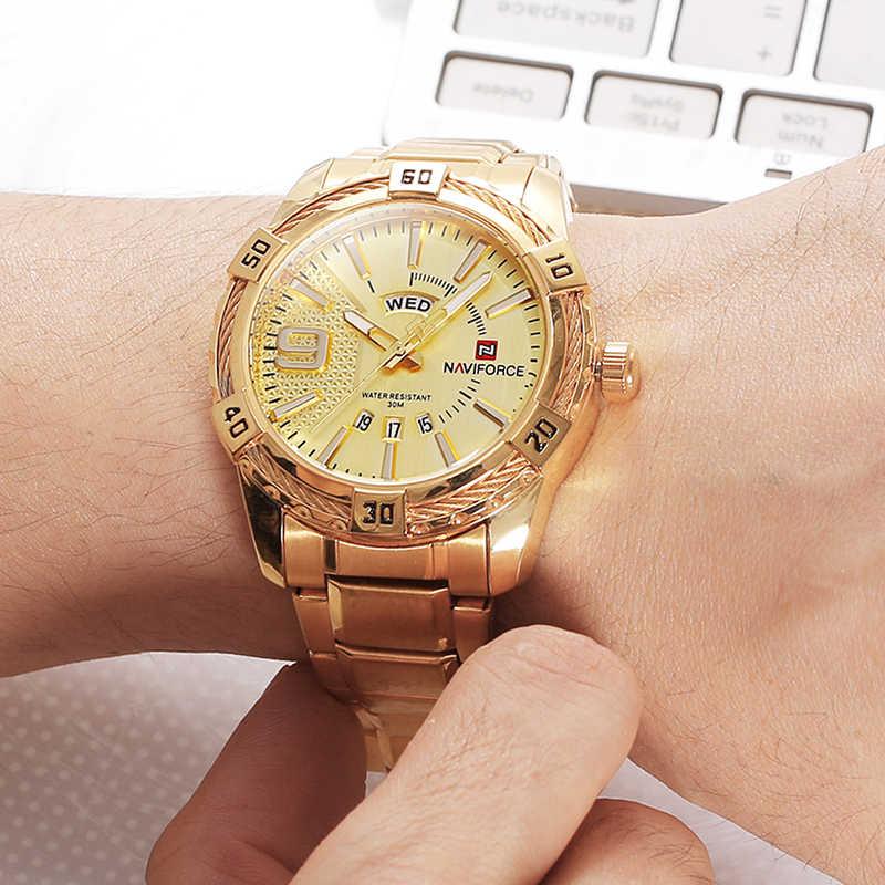 NAVIFORCE Элитный бренд спортивные часы для мужчин золото полный сталь повседневные часы для мужчин Дата водостойкий Военная Униформа человек relogio masculino