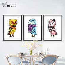3 Panels/Set Cartoon Wall Canvas Printing Art Poster Owls Colorful Pictures For Kids Children Room Decorative Bedroom Home Decor(China)