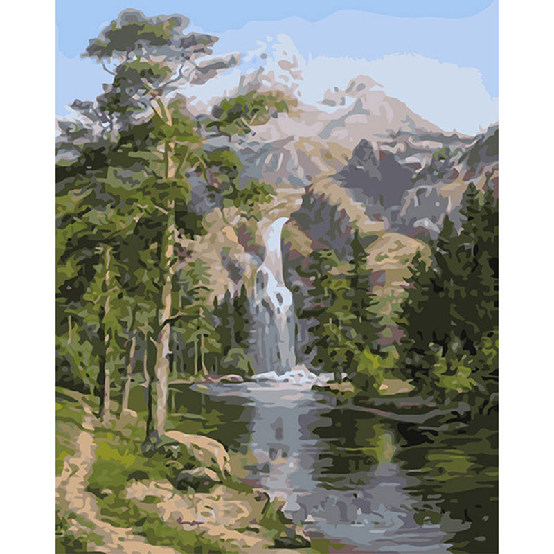 Frameless Mountain Waterfall Landscape DIY Painting By