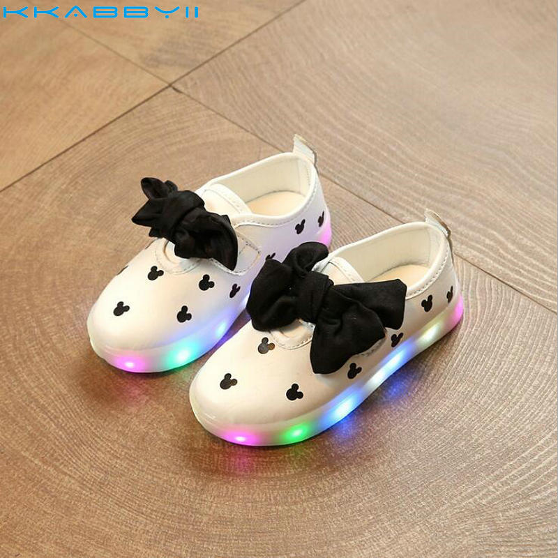 KKABBYII Children Shoes New Fashion Cartoon Led Shoes Girls Princess Cute Shoes With Light luminous Sneakers Size 21-30