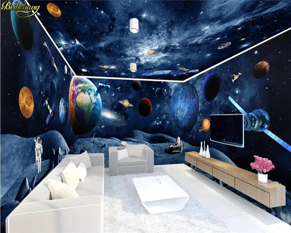 beibehang Custom wallpaper universe galaxy earth astronaut 3D theme space full house wall papers home decor