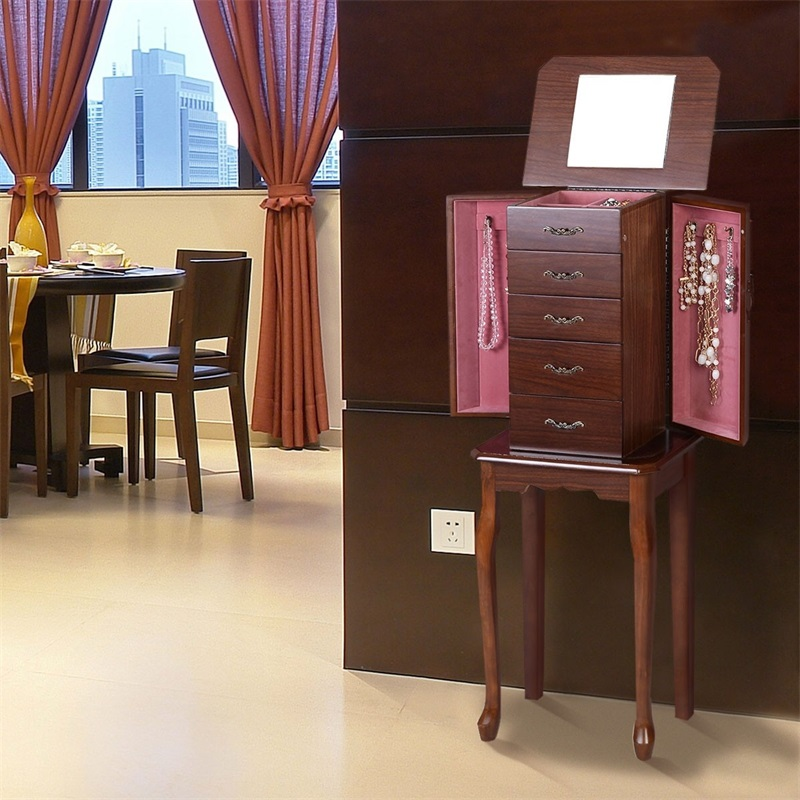 Vintage femmes maison bois debout bijoux armoire miroir rangement organisateur salon meubles HB82387