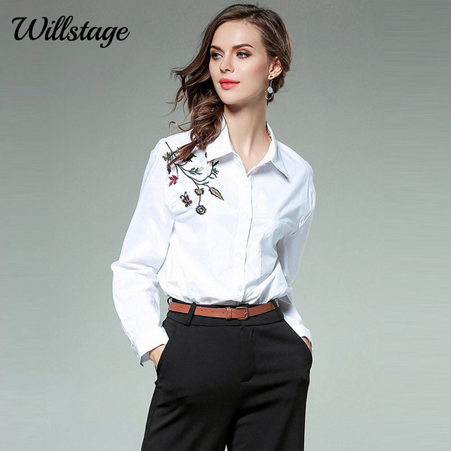 89b985f5f24 Willstage Floral Embroidery Shirt Women Solid White Blouse Button OL office  ladies Wear 2018 Spring Winter Printed Cotton Tops L