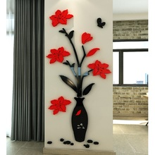 Chinese classical Plum vase DIY baby room bedroom home living TV background wall decoration 3D acrylic sticker