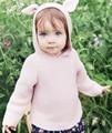 Novo Bebê Da Menina do Menino Newbaby Bege Marrom Animais estéreo ouvido Camisola Com Capuz Infantil Adorável Bonito Pulôver de Malha Cardigan