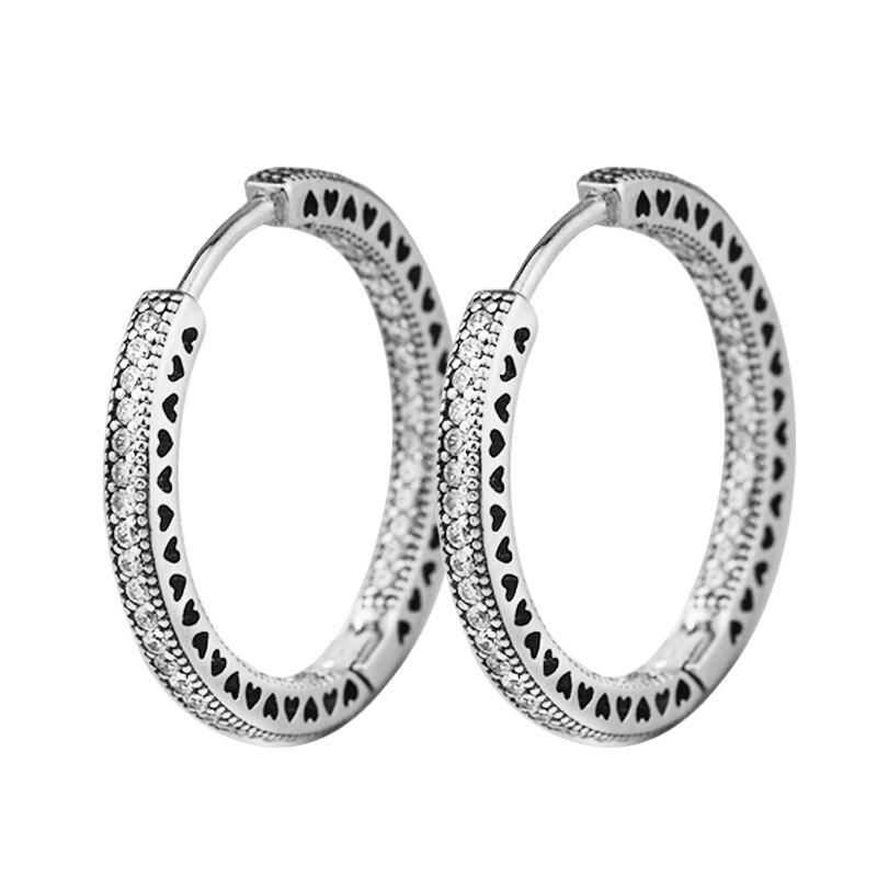100% Стерлинговое Серебро-ювелирные изделия обруч сердца серьги с четким CZ 925 100% серебряные украшения для женщин Бесплатная доставка
