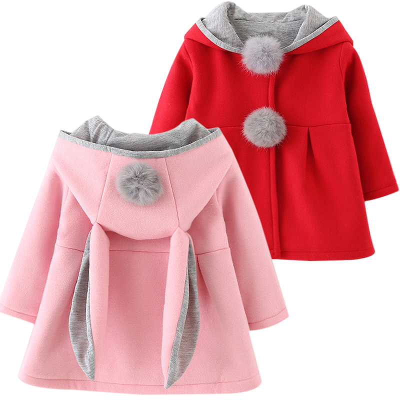Toddler Baby Girls Cute Rabbit Ears Hooded Fleece Coats Jackets Trench Coat Winter Warm Outerwear