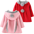 Children Bunny Jacket Winter Warm Girl Rabbit Autumn Cute Coats Toddler Kids Outwear Baby Hood Clothing jacket for girl fur coat