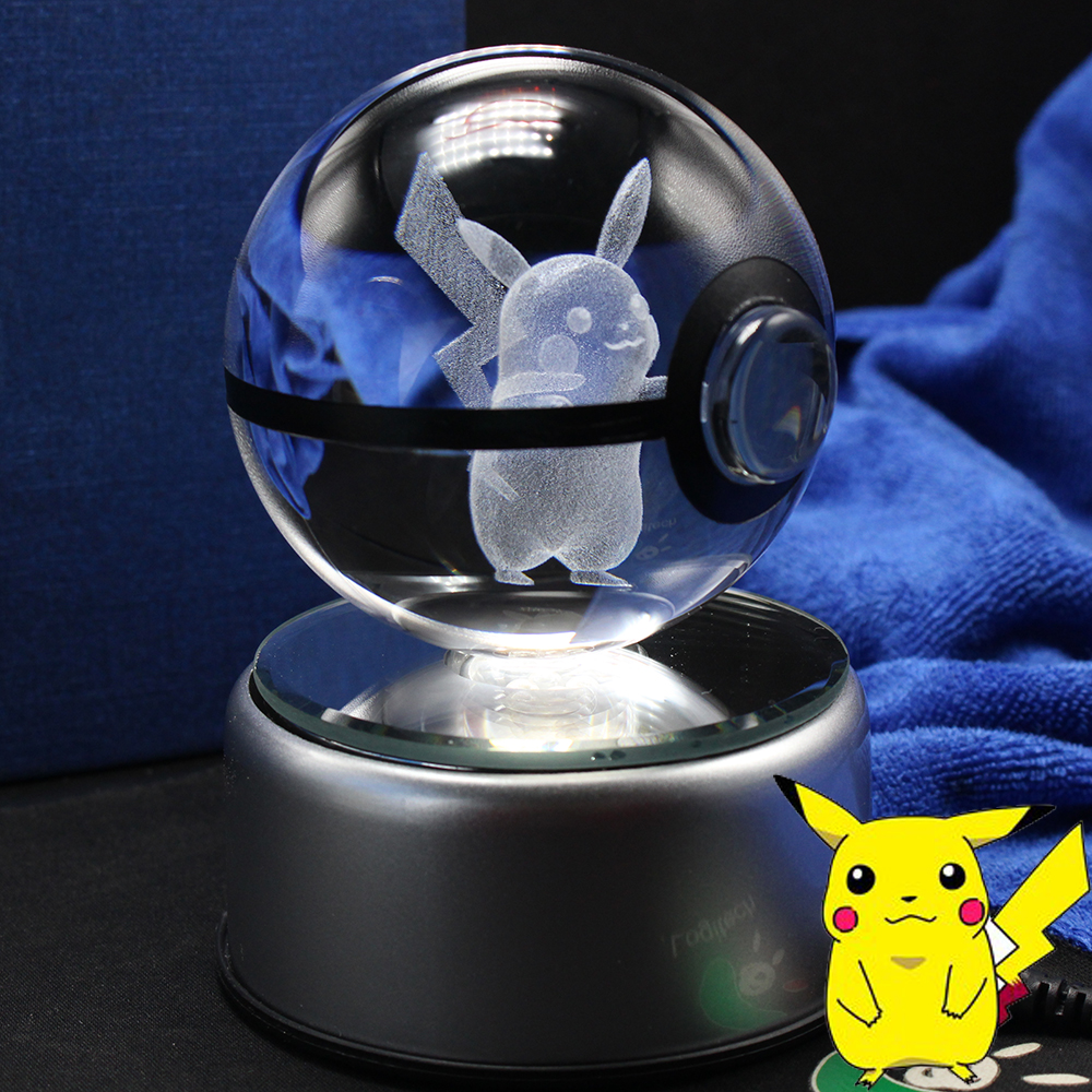 3D Laser Pokemon Gå Crystal Ball Figurines med Pikachu Children's Educational Gifts
