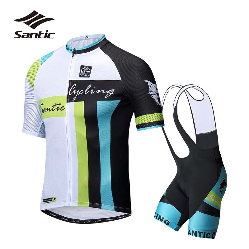 Santic Cycling Jersey Sets Men Short Sleeve 2018 Summer Pro Team Cycling Clothing Breathable Bib Sets Kit Bicycle Wear Bike Suit xintown 2018 cycling jersey clothing set summer outdoor sport cycling jersey set sports wear short sleeve jersey bib shorts sets