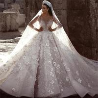 2019 Arabic Luxury Beaded A Line Wedding Dresses Sheer Long Sleeves Tulle Floral Applique Wedding Bridal Gowns robe de mariee