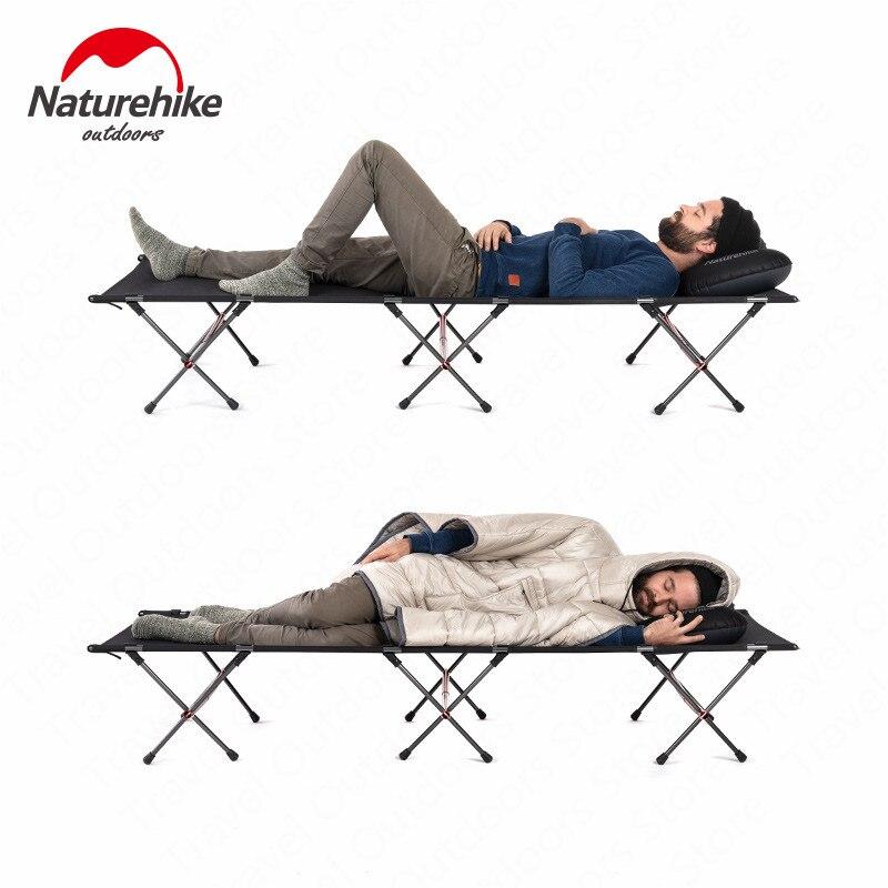 Naturel randonnée 2019 lit de randonnée Camping lit extérieur Portable pliable Ultra-léger en alliage d'aluminium Camp lit Table portant poids 200 KG