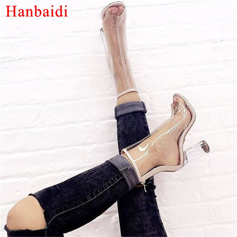 Hanbaidi Sexy Pvc Transparent Gladiator Sandals Woman Open Toe Clear High Heel Shoes Street Style Women Summer Boots Shoes Women sexy big stars sandals style pvc clear transparent back strap high heel sandals plus size custom stilettos women shoes