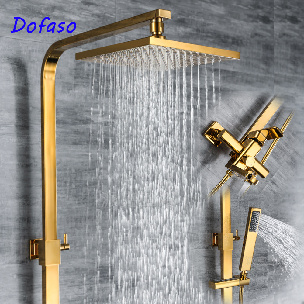 Dofaso Solid Brass gold shower faucet Double Handles Bathroom Mixer Tap Tub Swivel Spout Hand bath Shower set колесные диски cross street y4601 6x15 5x112 d57 1 et47 mwrsi