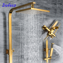 Dofaso Solid Brass gold shower faucet Double Handles Bathroom Mixer Tap Tub Swivel Spout Hand bath Shower set wholesale and retail promotion polished chrome brass square waterfall spout bathroom tub faucet w hand shower
