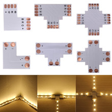 5pcs 2Pin 3Pin 4Pin LED Connector 8mm 10mm L/T/X Shape FPC Free Welding Adapter Use For 3528 2812 5050 RGB Light Strip