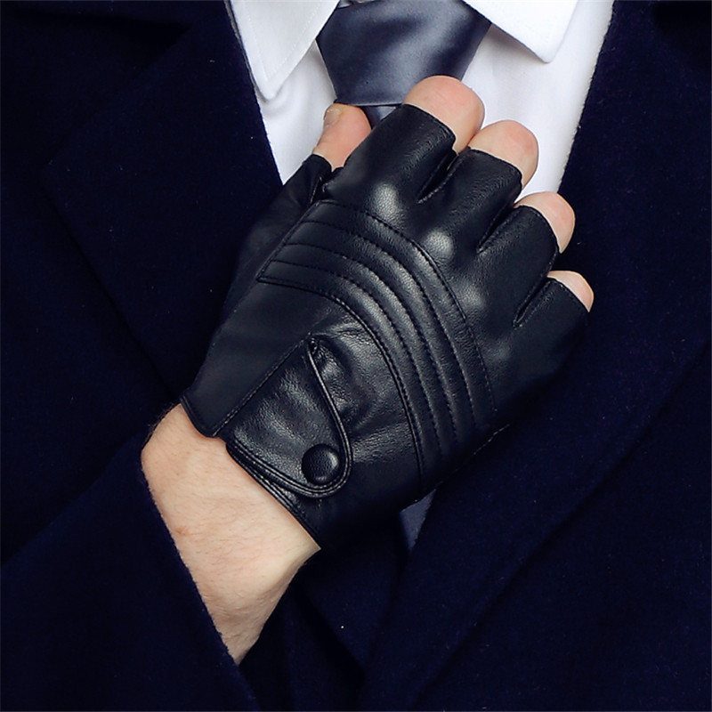 Long Keeper Men Leather Driving Gloves Half Finger Tactical Gloves PU Leather Fingerless Gloves For Male Black Guantes Luva G223