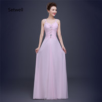 Setwell Simple Cute Pink Prom Dresses 2017 Sexy V Neck Backless Prom Dress Floor Length High Quality Long Chiffon Evening Gown