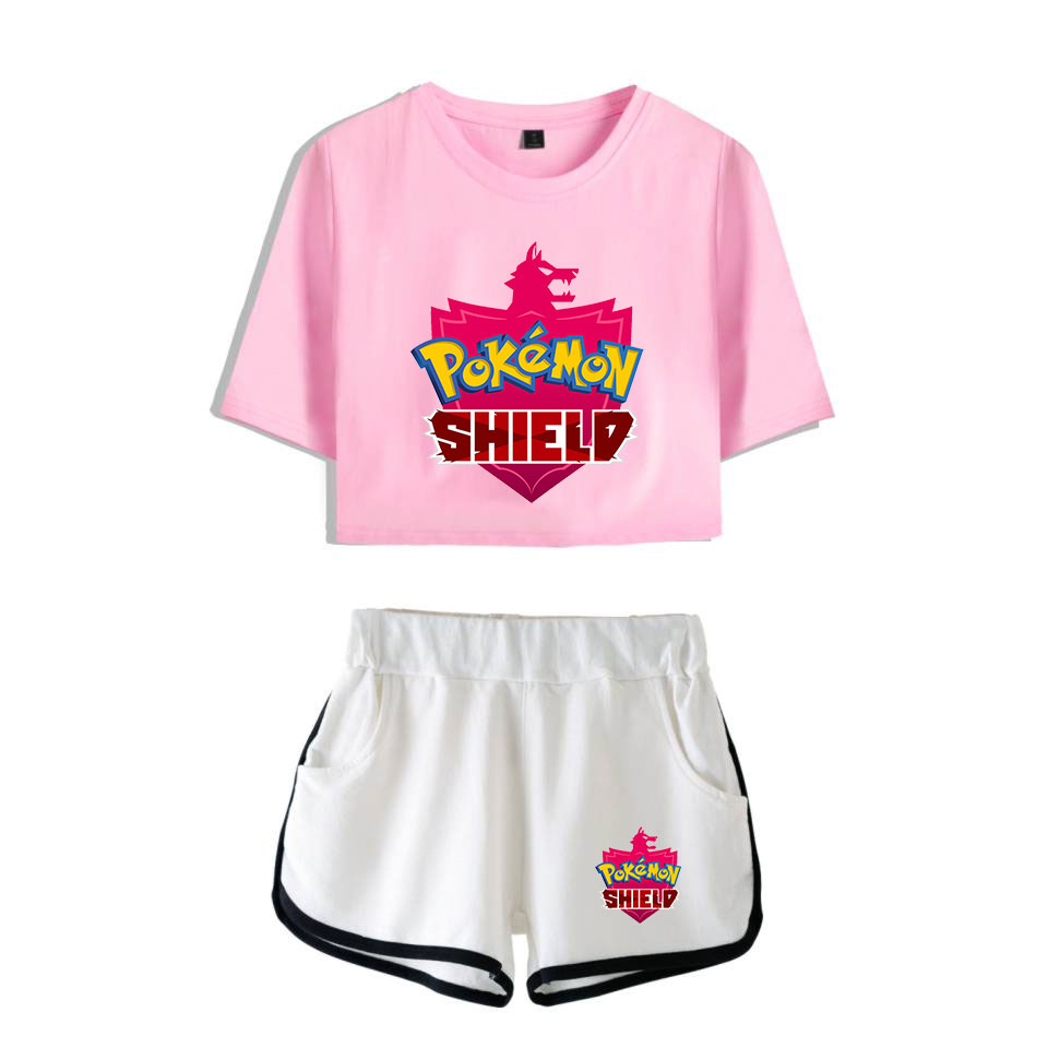 Women's Clothing Pokemon Sword And Shield Printed Cool Game New Two Pieces Sets Soft Cropped Top And Shorts Kpop Exclusive Casual New Style Sets Women's Sets