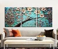 Muya modern akrilik boyama el boyalı palet bıçak boyama mavi soyut sanat cherry blossom boyama dekorasyon yatak odası