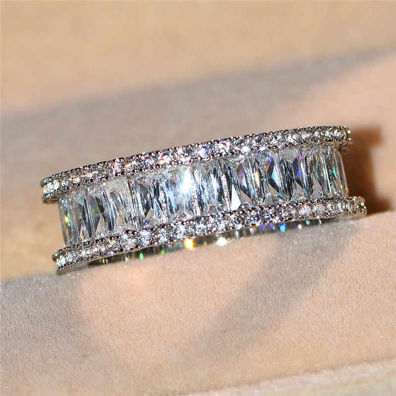 หรูหราแฟชั่นคริสตัล Zircon แหวนหินหญิง Silver Gold เครื่องประดับสัญญาซ้อนกันได้แหวนหมั้นสำหรับผู้หญิง