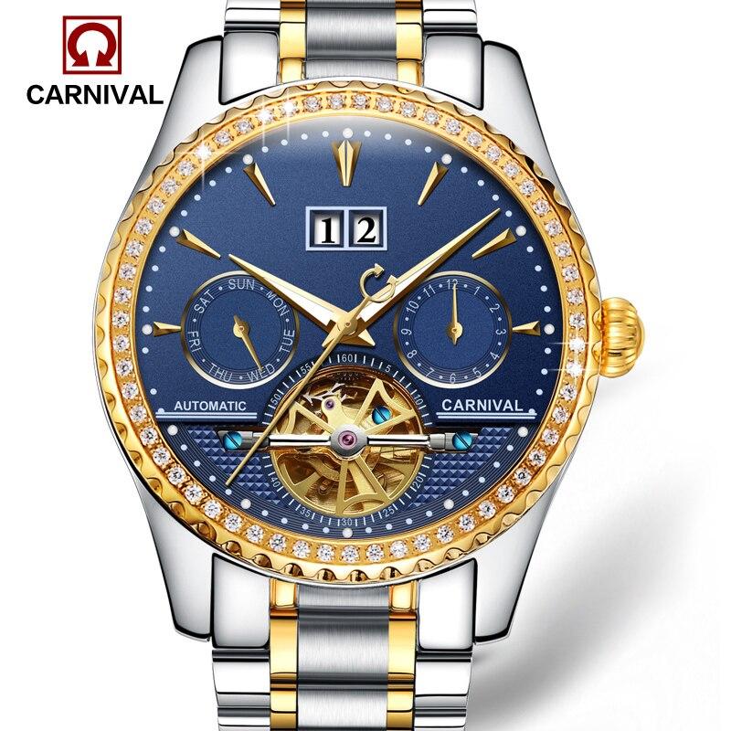 Carnival Watch Men tourbillon  Automatic Mechanical Luminous Gold Stainless Steel Waterproof multifunction Blue Watches