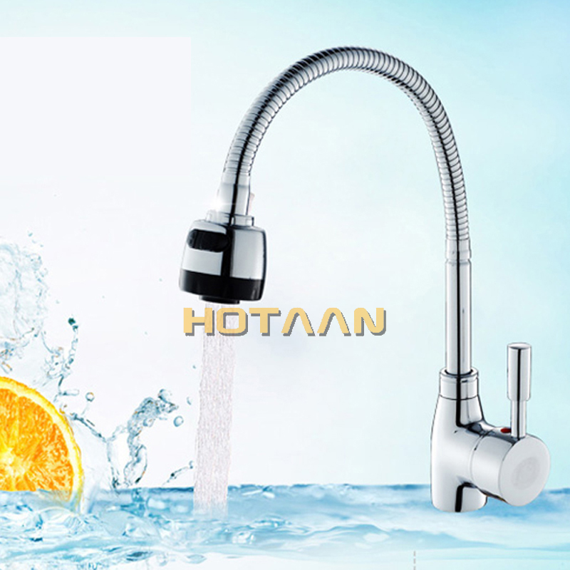 Image 5 - Free Shipping Solid Brass Kitchen Mixer Cold and Hot Kitchen Tap Single Hole Water Tap Kitchen Faucet torneira cozinha YT 6003-in Kitchen Faucets from Home Improvement