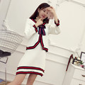 [Alphalmoda] Ladies Preppy Style Knitting Suits Stripe Knit Sweet Bow Cardigan + A-line Short Skirt Women Spring Clothing Sets