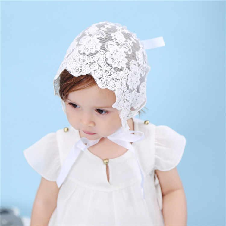 Bnaturalwell bebé niñas blanco bonete de encaje flores decoración sombrero tamaño 3-9 mo bautizo sombrero regalo, foto recién nacido Prop, H832