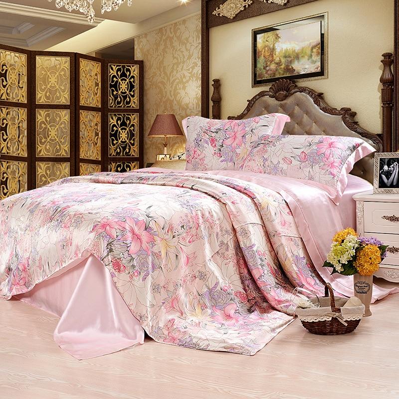 Natural Mulberry Silk Bedding Set Queen King Size Luxurious Pure Bedclothes Wedding Girls Duvet Cover 4PCS