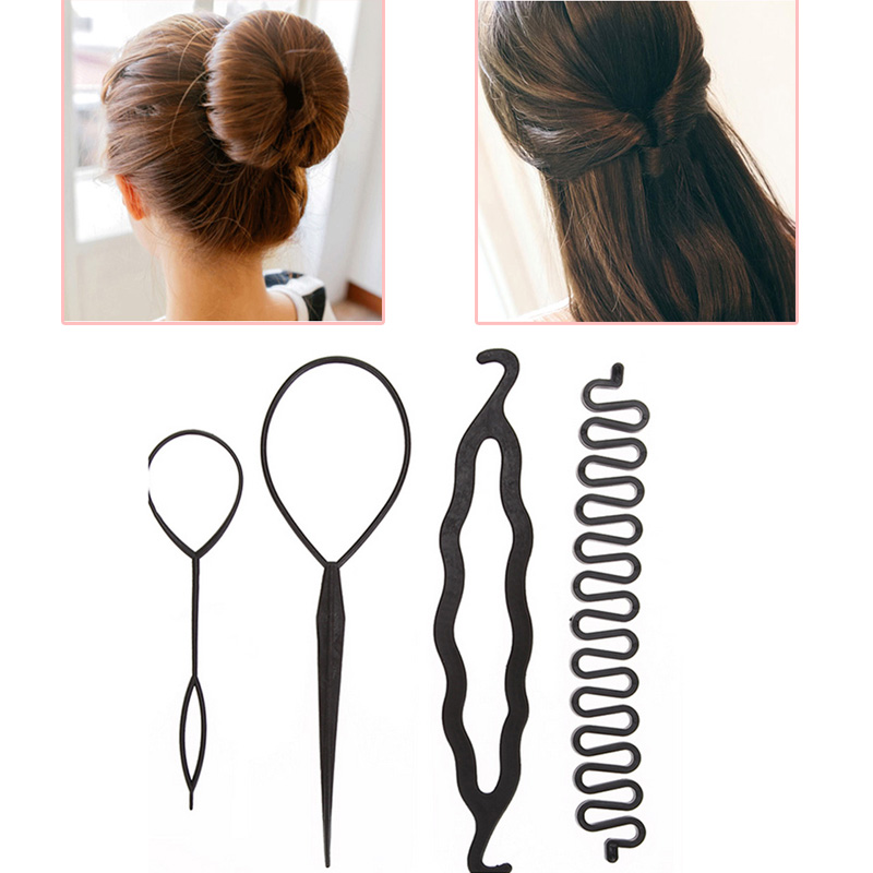 New Arrival 4pcs/set Magic Hair Braiding Twist Curler Set Hairpin Holding Braiders Pull Hair Ponytail DIY Tool Styling Tool Kit