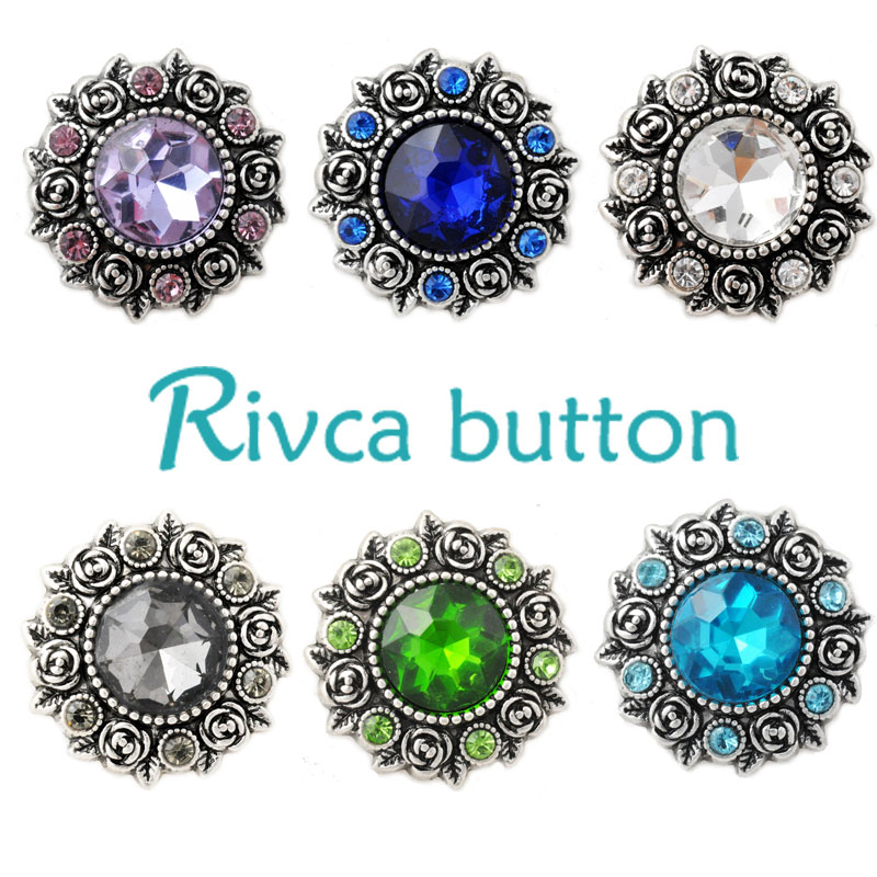 D02813 Hot Wholesale High Quality Rose styles 18mm Metal Snap Button Charm Rhinestone Styles Button rivca