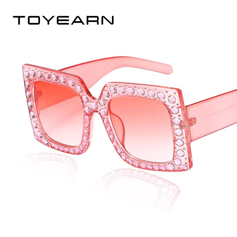 TOYEARN 2018 Nouvelles Dames Carré lunettes de Soleil Femmes Vintage Marque  De Luxe Conception Diamant Cadre c7740d5c6ccc